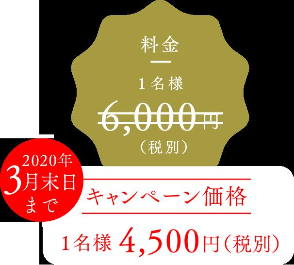 6月末までキャンペーン価格 1名様4,500円(税別)